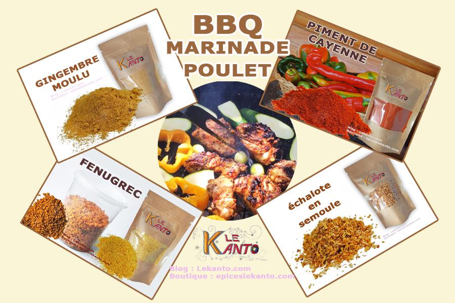 Marinade et poulet au barbecue