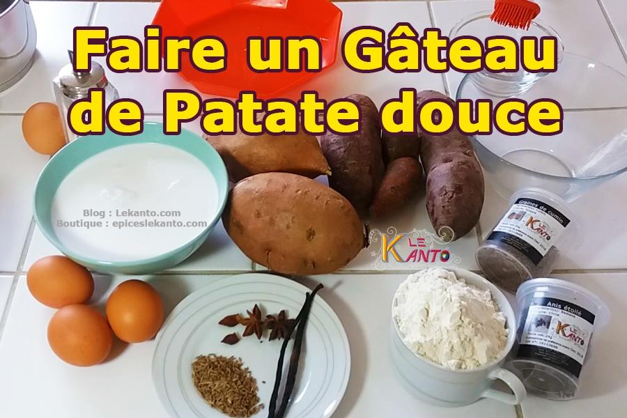 Ingrédients pour gâteau de patate douce