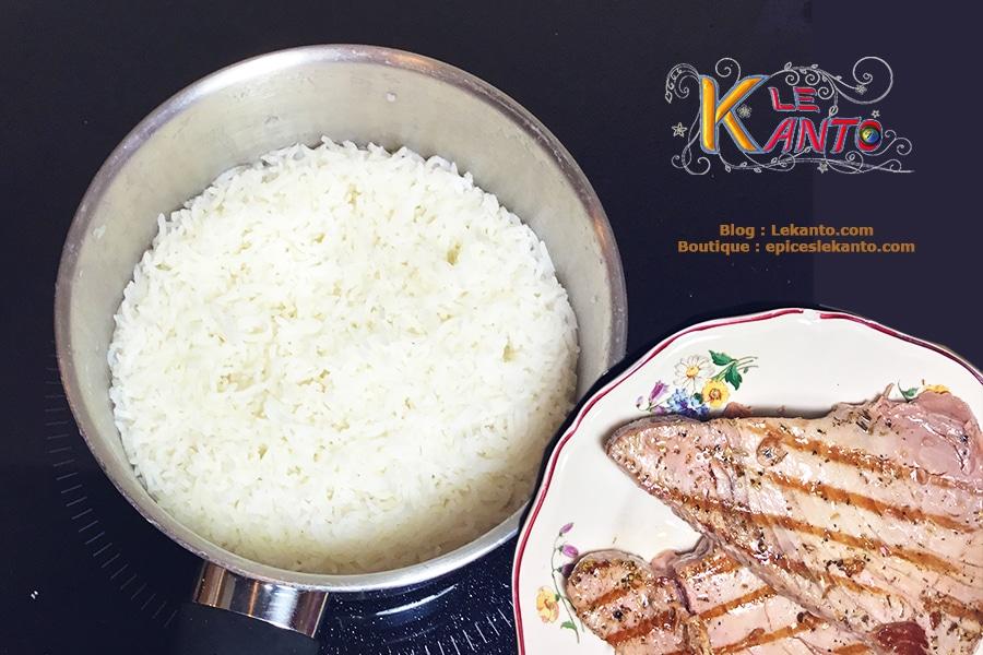 Filet de thon et riz nature