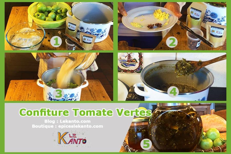 Préparation de gelée de tomates vertes